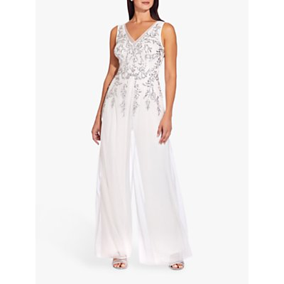 Adrianna Papell Beaded Georgette V-Neck Jumpsuit, Ivory/Silver