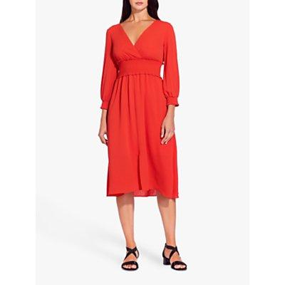 Adrianna Papell Smocked Midi Dress, Burnt Orange