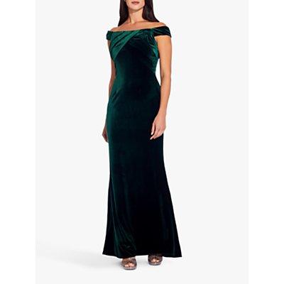 Adrianna Papell Stretch Velvet Bardot Dress, Emerald