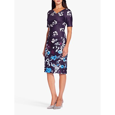 Adrianna Papell Botanical Scuba Sheath Dress, Plum