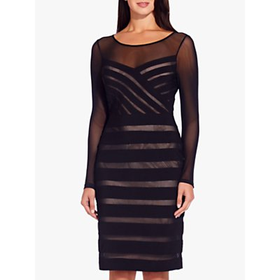 Adrianna Papell Illusion Banded Sheath Dress, Black/Pale Pink