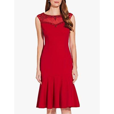 Adrianna Papell Crepe Beaded Dress, Cardinal