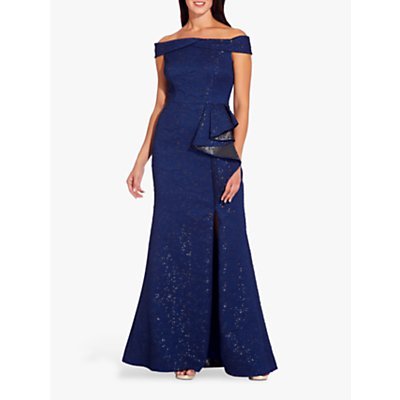 Adrianna Papell Petite Off Shoulder Metallic Gown, Light Navy