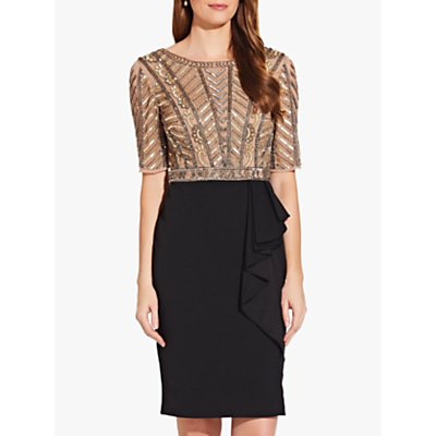 Adrianna Papell Beaded Ruffle Dress, Gold/Black