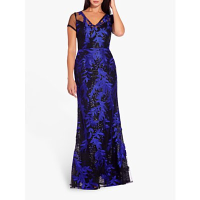 Adrianna Papell Foliage Mermaid Dress, Black/Blue