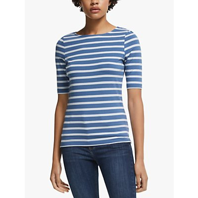 John Lewis & Partners 1/2 Sleeve Cotton Stretch Boat Neck T-Shirt