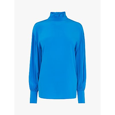 L.K.Bennett Chapelle High Neck Silk Blouse, Turquoise