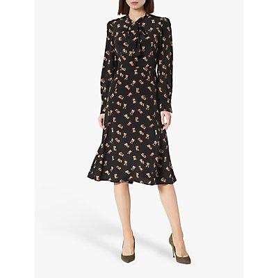 L.K.Bennett Mortimer Book Print Silk Dress, Black
