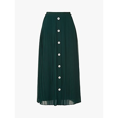 L.K.Bennett Fozette Pleated Button Down Midi Skirt, Dark Green