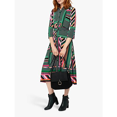 Monsoon Shalona Jersey Print Midi Dress, Green