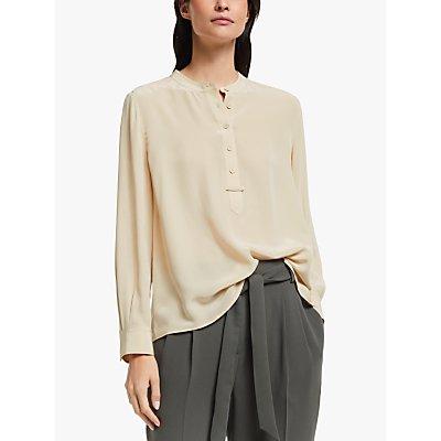 Modern Rarity Silk Topstitch Placket Shirt, Natural