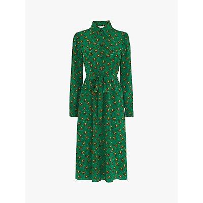 L.K.Bennett Sonya Bird Print Shirt Dress, Green