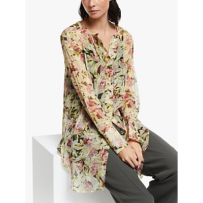 Modern Rarity Archive Floral Print Tie Front Tunic Top, Pink/Multi