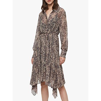 AllSaints Lizzy Animal Print Shirt Midi Dress, Camel Brown