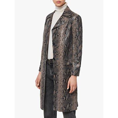 AllSaints Oba Leather Mac Coat