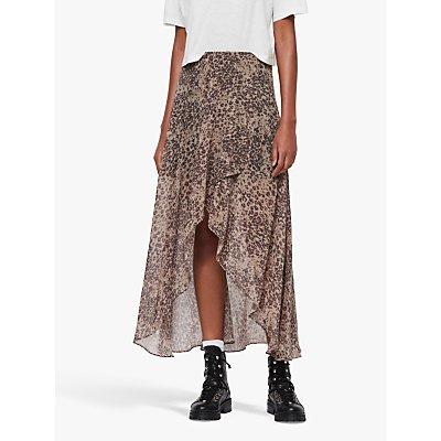 AllSaints Slvina Leopard Print Skirt, Camel Brown