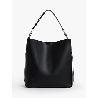 AllSaints Nina North South Leather Tote Bag, Black