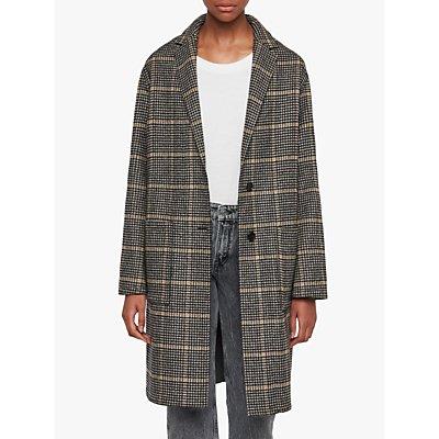 AllSaints Anya Aurora Check Coat, Black/Camel