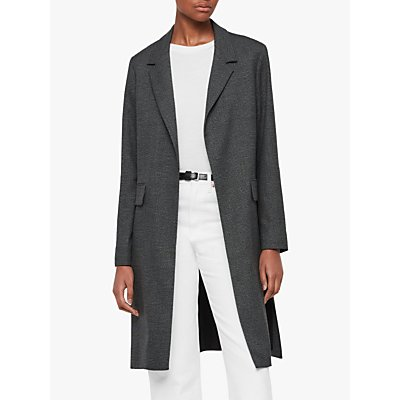 AllSaints Aleida Check Duster Coat, Grey/Black