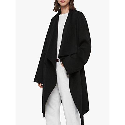 AllSaints Adalee Wool Blend Tie Waist Coatigan, Black