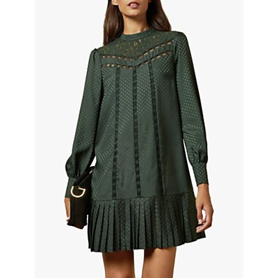 Ted Baker Chllo Lace Polka Dot Detail Long Sleeve Dress