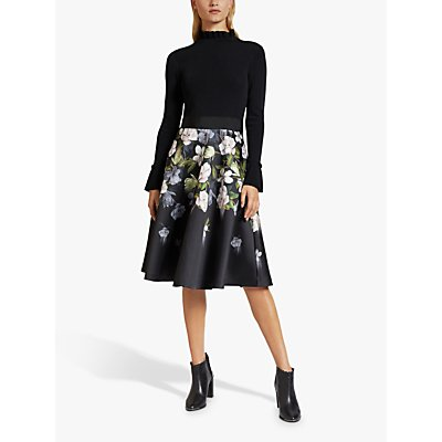Ted Baker Nerida Opal Print Skirted Dress, Black