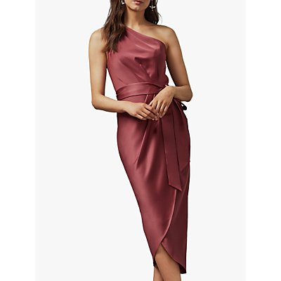 Ted Baker Gabie One Shoulder Drape Midi Dress, Pink