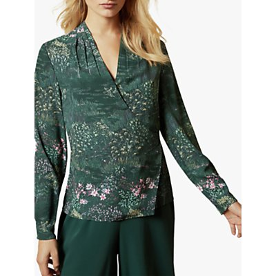 Ted Baker Thessie Diamond Pintuck Floral Wrap Blouse, Dark Green