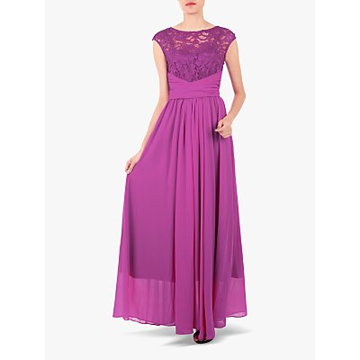 Jolie Moi Boat Neck Lace Bodice Dress