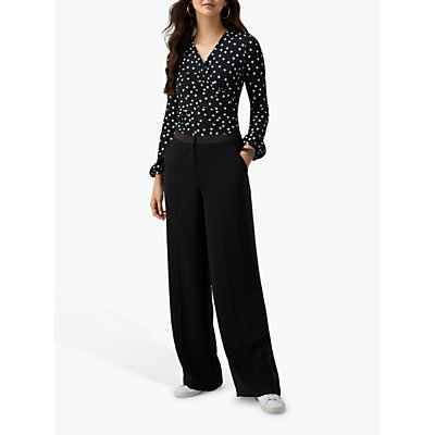 Pure Collection Wide Leg Trousers, Black