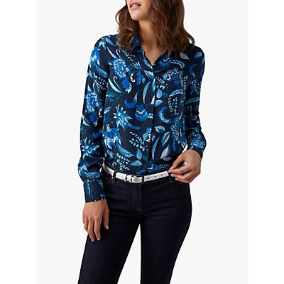 Pure Collection Relaxed Silk Blouse, Opulence Navy Floral