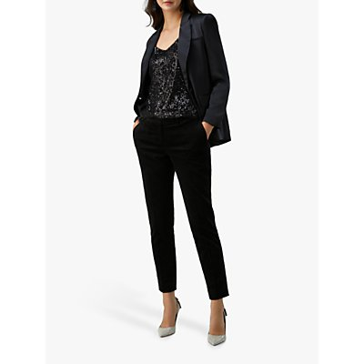 Pure Collection Tailored Velvet Ankle Trousers, Black