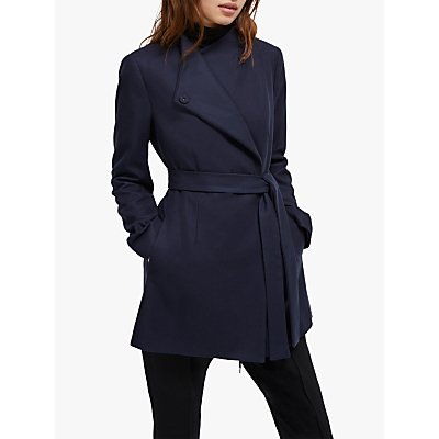 French Connection Wool Platform Felt Crossover Coat