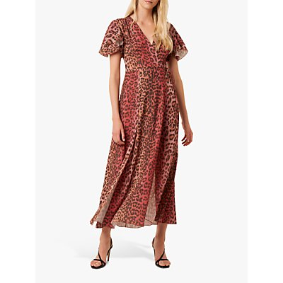 French Connection Annalia Leopard Print Tea Dress, Casablanca/Rhubarb