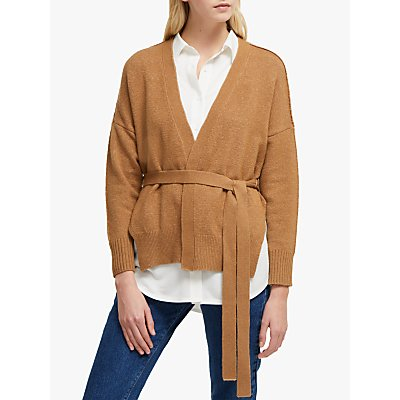 French Connection River Vhari Tie Waist Cardigan, Camel