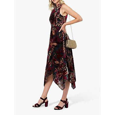 Monsoon Lyra Devore Velvet Floral Midi Dress, Black