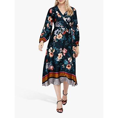 Monsoon Shanie Floral Print Dress, Teal