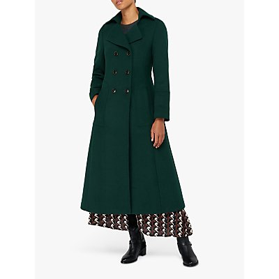 Monsoon Charlotte Maxi Coat, Dark Green