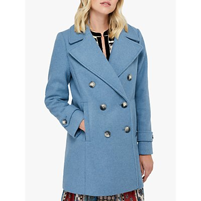 Monsoon Ashley Double Breasted Pea Coat, Blue