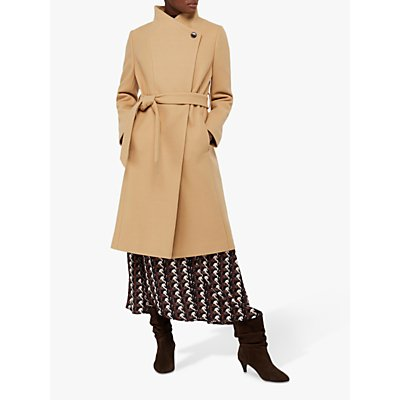 Monsoon Rita Wrap Collar Long Coat, Camel