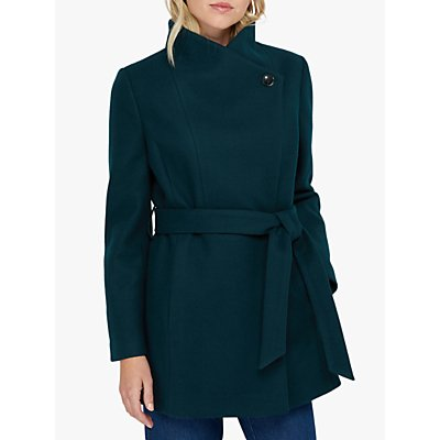 Monsoon Rita Wrap Collar Short Coat, Teal