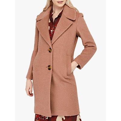 Monsoon Billie Wool Blend Boucle Coat, Soft Pink