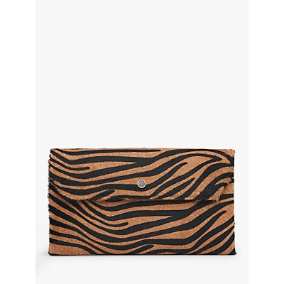 L.K.Bennett Dora Calf Hair Clutch Bag, Zebra Print