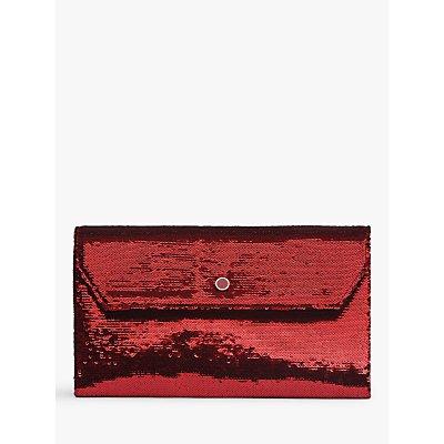 L.K.Bennett Dora Sequin Clutch Bag, Red