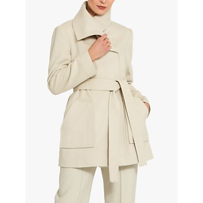 Helen McAlinden Kristie Double Breasted Wrap Coat, Stone