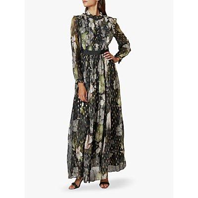 Ted Baker Hunnie Floral Print Ruffle Detail Maxi Dress, Multi