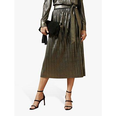 Ted Baker Gretta Pleated Midi Skirt, Gold
