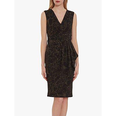 Gina Baccni Goretti Floral Metallic Crepe Dress, Black/Gold