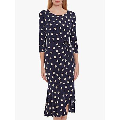 Gina Bacconi Monisa Pearl Print Jersey Midi Dress, Navy