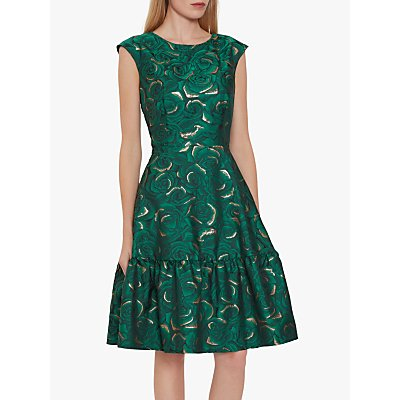 Gina Bacconi Nasra Flared Jacquard Dress, Green/Gold